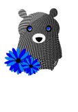 maglietta Sweet bear and blue flowers