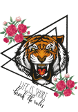 maglietta tiger and roses