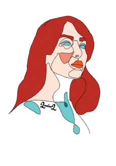 maglietta red hair on abstract woman