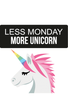 maglietta Less monday more unicorn