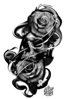 maglietta Skull and Rose