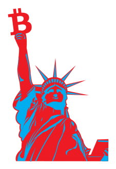 maglietta statue of liberty with bitcoin - vectorial design